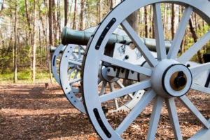 See cannons used during the Revolutionary War at the Guilford Courthouse National Military Park